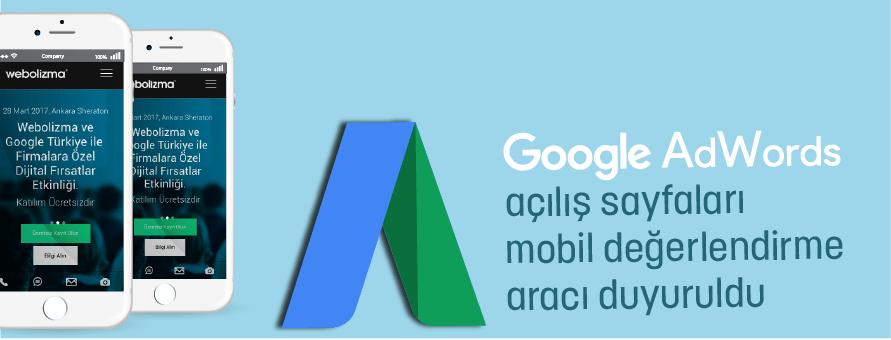 AdWords Açılış Sayfaları Mobil Değerlendirme Aracı Duyuruldu
