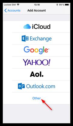 IMAP iOS Kurulumu Adım3