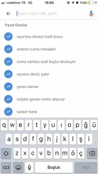 Google Trends Anlık Aranan Kelimeler