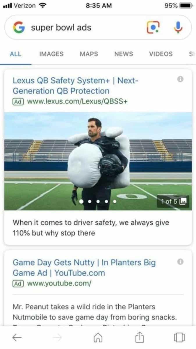 Arama Ağı Reklamlarına Görsel Ekleniyor Super Bowl Mobil